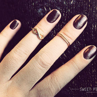 2 Gold Infinite Knuckle Rings, Midi Rings, Midi Ring, Above Knuckle ring, , twist ring