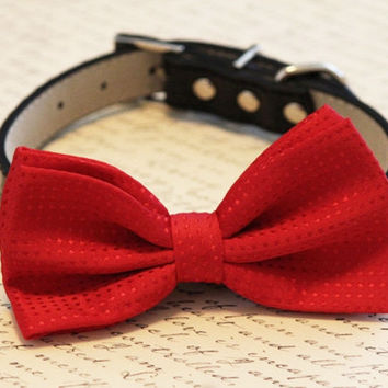 Red Dog bow tie attached black leather collar, Red Chic Dog Bow tie, Red Wedding accessories, Christmas gift, Valentine's Day Gift