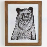 4040 Locust Sketched Grizzly Framed Art Print- Brown One