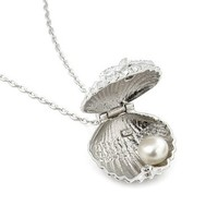Seashell Cz and Freshwater Pearl Locket with 16'' Plus 1'' Chain