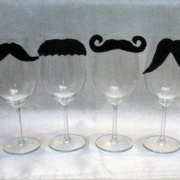 Moustache Wine Charms Set of Four to clip on your by AWineTwist