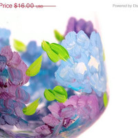 """Christmas in July Sale Wine Glasses: """"Hydrangea"""" Blue & Purple Hand-painted glasses"""