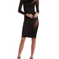 Black Long Sleeve Mesh Cut-Out Bodycon Dress by Charlotte Russe