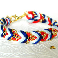 Anchors Away - Neon Red, Pearl, Brighter Skies, Rich Navy - Chevron Braided Modern Friendship Bracelet - Gold Chain