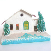 Vintage White Putz House Christmas Decoration, circa 1950s, Cardboard, Japan Holiday Decor Collectible (WB4)