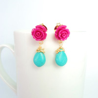 Flower Dangle earrings with resin and wire wrapped turquenite/hot pink and turquoise stud earrings