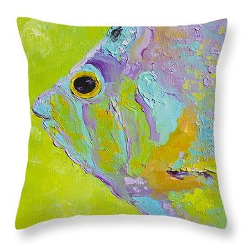 "Tropical Fish Painting Throw Pillow 14"" x 14"""