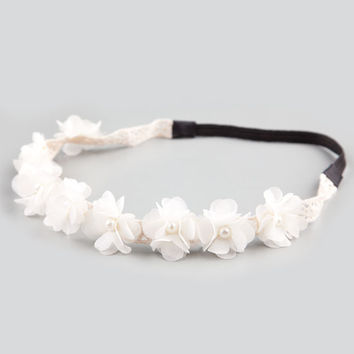 Full Tilt Chiffon Flower Pearl Headband Ivory One Size For Women 21182816001