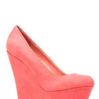 Coral Faux Suede Platform Wedge Pumps