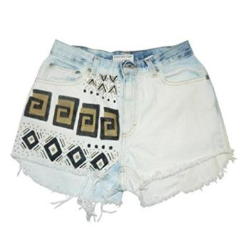 Custom Tribal Gold And Black High Waisted Denim Wrangler Shorts