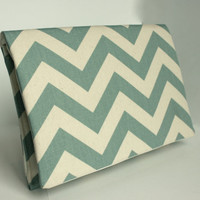 Chevron Clutch LIMITED EDITION Spa Blue and Natural by FoxyVida