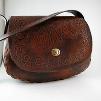 Tooled Leather Purse Mustangs Hand Carved by Leatherworks4U