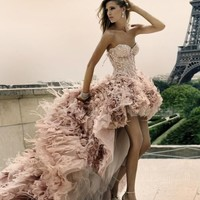 High-low Feather Wedding Dresses Short Front Long Back Bridal Gown Prom Dress