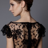 TOP - LACE REF: 302 - BLACK by Najib Alioua - Black Calais lace top, lined with black or oatmeal silk chiffon.