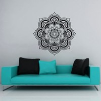 Wall Decals Lotus Flower Mandala Namaste Ornament Indian Geometric Moroccan Pattern Yoga Wall Vinyl Decal Stickers Bedroom Murals