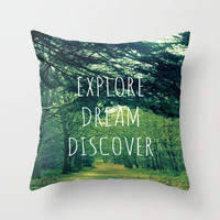 Explore. Dream. Discover. Throw Pillow by Ally Coxon