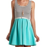 Color Block Striped Skater Dress by Charlotte Russe - Turquoise Combo