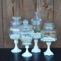 4 PEDESTAL APOTHECARY JARS in Vintage White CaNdy by VintageEvents