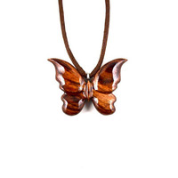 Butterfly Necklace, Butterfly Pendant, Wooden Butterfly Pendant, Wood Butterfly Necklace, Butterfly Jewelry, Carved Pendant, Wood Jewelry