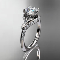 14kt  white gold diamond leaf and vine wedding ring,engagement ring with moissanite center stone ADLR112