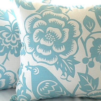 """Robin egg blue and ivory  pillow cover - """"18x18"""""""