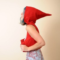 Little Red Riding Hood  Cropped Bustier Top with Goblin Hood