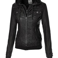 MBJ Womens 2-For-One Hooded Faux leather Jacket S CHARCOAL