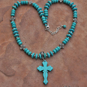 Turquoise Cross Necklace, Cross Pendant, Christian Jewelry, Turquoise Howlite Necklace, Summer Necklace, Southwestern Style Necklace