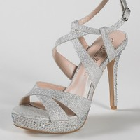 High Heel Glitter Sandal with Heel Stone Detail