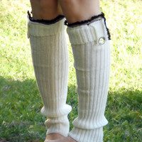 Lace trim  ribbed knit boot socks with buttons , leg warmers in white