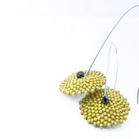 Green Olives long dangle beadwoven earrings etsy by CallOfEarth