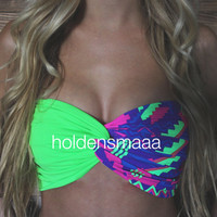 Spandex Bandeau -- Green/Abstract