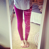 Tribal Print Rose Leggings Sz. Medium