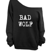 BAD WOLF  off the  shoulder sweater, loose fit oversized   mizzombie grunge wolves