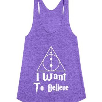 Believe in the Deathly Hallows-Unisex Tri Orchid Tank
