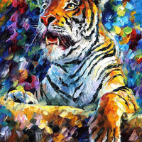 "Tiger — PALETTE KNIFE Animals Oil Painting On Canvas By Leonid Afremov - Size: 30"" x 40"""