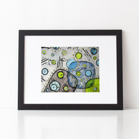 Abstract Art Print, mid century modern, geometric art of circles and squares, gray with lime green and blue, choice of print sizes
