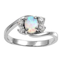 Sterling Silver Oval White Lab Opal Ring (Size 5 - 10) - Size 9