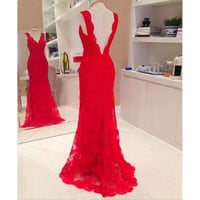 Lady Long Evening Ball Prom Gown Formal Bridesmaid Cocktail Party Lace Dress Red