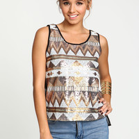 Tribal Sequin Chiffon Top