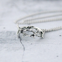 Antique Silver Crown of Thorns Necklace - Easter Jewelry - Christian Pendant Necklace