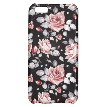 Stylish Vintage Pink Floral Pattern iPhone 5C Case