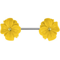 14 Gauge Yellow CZ Blooming Yellow Aster Flower Nipple Ring Barbell   Body Candy Body Jewelry