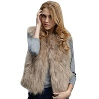 ROPALIA Luxury Womens Fox Faux Fur Vest Coat Sleeveless Short Waistcoat