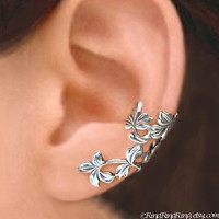 925. Spring Leaf - Sterling Silver ear cuff earrings, Non pierced earcuff jewelry 110412