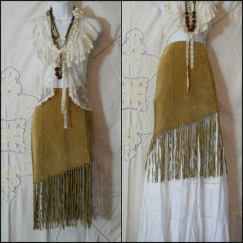 Vintage Suede Leather fringe tassel skirt boho prairie hippie Coachella Free People Gypsy Woodstock Southwestern Tribal XS S