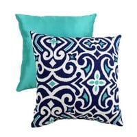 Pillow Perfect Decorative Damask Square Toss Pillow, Blue/White