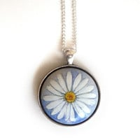 Sweet Necklace Daisy Pendant, Flower Charm, Hand Painted Wood Jewelry, Gift idea