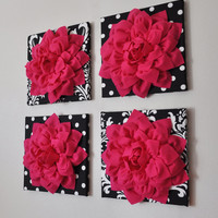 """Wall Decor -SET OF FOUR Hot Pink Dahlias on Black and White Prints 12 x12"""" Canvases Wall Art-"""