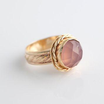 Pink Chalcedony Ring, Rose Cut Gemstone, Gemstone Ring, Stacking Ring, Gold Filled Ring